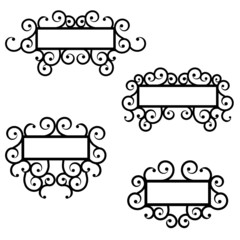 Wrought iron frame vector set.