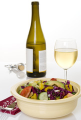 White Wine with Chopped Vegetable Salad