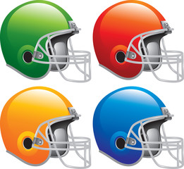 Multiple colored football helmets