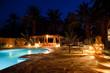 Leinwanddruck Bild - Arab hotel pool evening