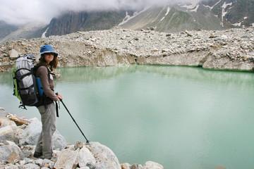 Hiker in Caucasus mountains