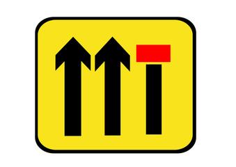 lane closed motorway sign