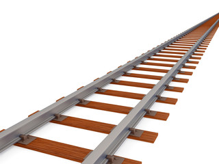 Empty railway track isolated on white