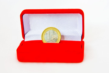 One Euro coin in jewelry box