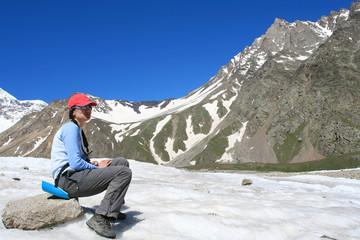 Hiker in mountain