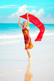 Woman with red sarong poster