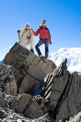 Hikers in Caucasus mountains