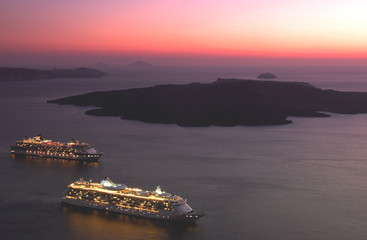 Cruise liners by sunset