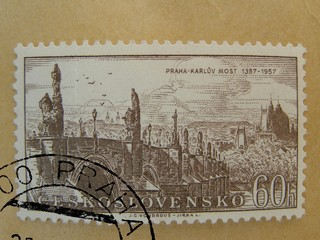 Charles bridge in Prague on a post stamp