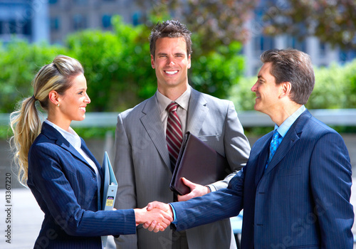 Businessmen and business woman stock photography.