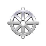 Chrome Buddhism symbol. poster