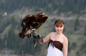 eagle on a hand