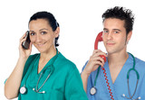 Medical team to the phone