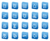 Database web icons, blue box series poster