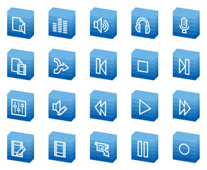 Audio video edit web icons, blue box series
