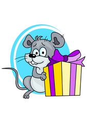 Little mouse with gift box