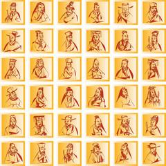 plastische goldene quadrate mit chinesischen trachten