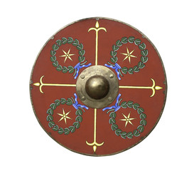 Roman legionary shield isolated on white