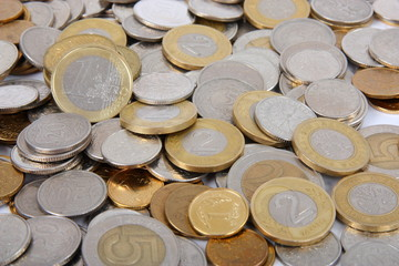 Coins of Poland with 1 euro, as financial background