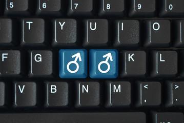 Male symbols on keyboard