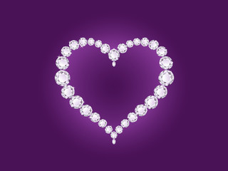 Diamond heart on violet background
