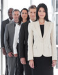 Confident Female Business leader with business team