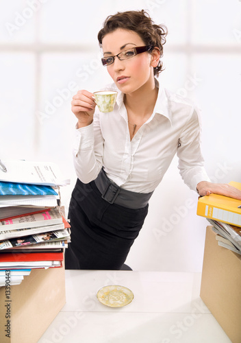 Businesswoman during a work stoppage