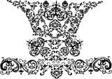 symmetric curled black pattern poster