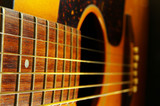 closeup of a guitar neck and strings poster