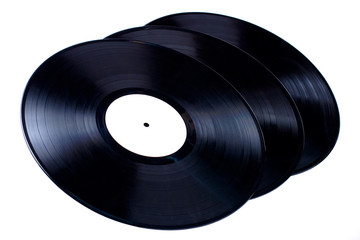 Vinyl records on white background