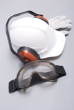 hard hat, protective gloves, eye protectors,headphones