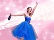 Lovely brunette woman in the blue dress