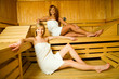 Happy women in sauna