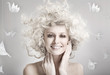 Smiling blond beautiful woman