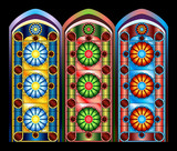 Stained glass windows in three color schemes poster