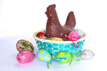 Basket with ornamental eggs and chicken made of chocolate