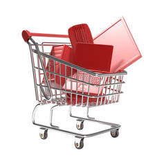 isolated shopping cart with technology concept