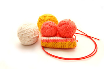 Set for knitting on a white background