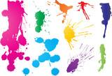 Nine vibrant color graffiti paint splatters poster