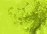 Green abstract nature with grunge background. Vector layered.