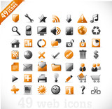 Fototapety new set of 49 most popular icons on the web / orange