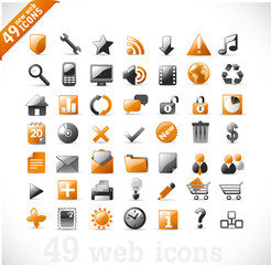 new set of 49 most popular icons on the web / orange