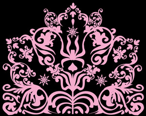 design with pink conventionalized design