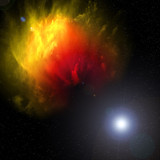 Red and yellow space nebula with stars poster