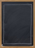 blank blackboard with large rectangle in white chalk poster