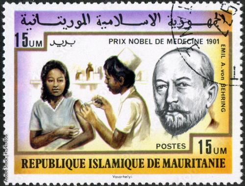 Poster Mauritanie. Behring. Nobel Médecine. 1901 Vaccination.