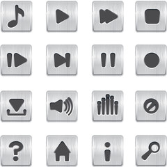 metallic buttons playback vector icons set