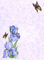 card design with decorative flowers and butterfly