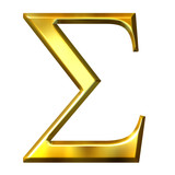 3D Golden Greek Letter Sigma
