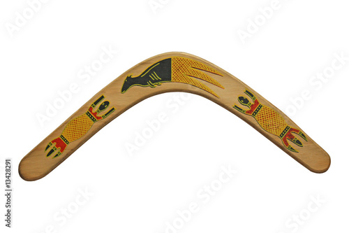 A Decorated Wooden Australian Boomerang.